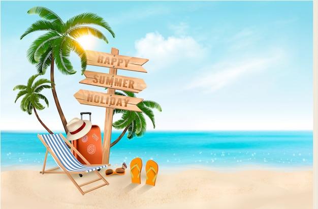 海辺での休暇。ビーチで旅行用品。