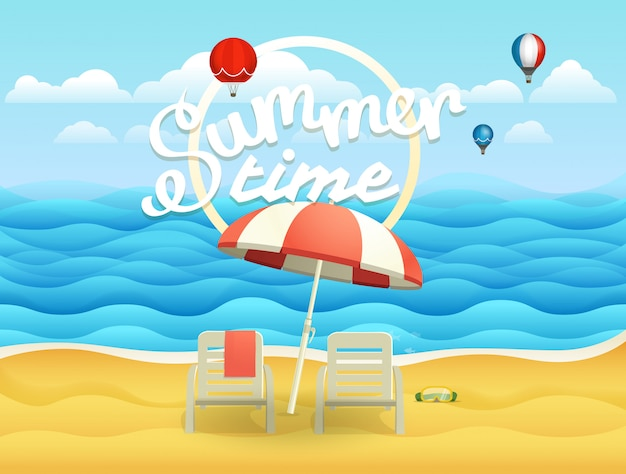 Seaside vector illustration with umbrella. beach landcape