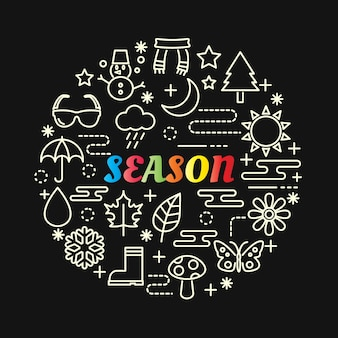 Season colorful gradient with line icons set Premium Vector