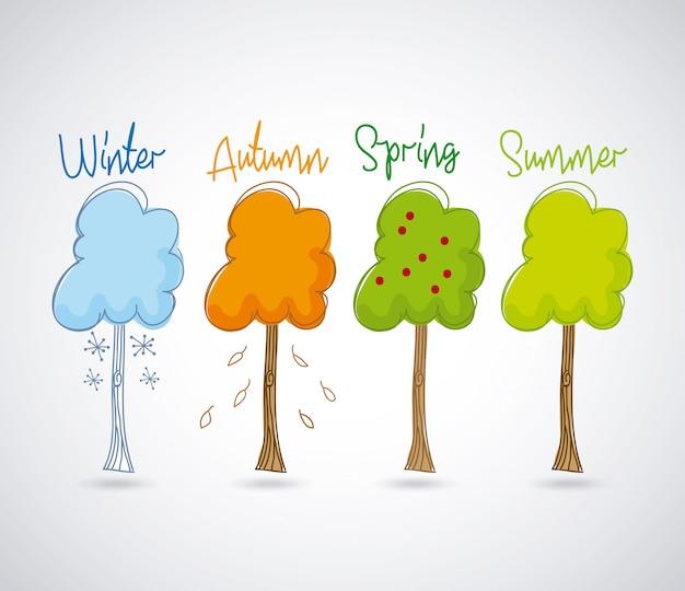 白い背景ベクトルのイラスト以上の季節のデザイン