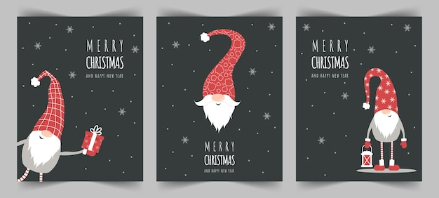 Season greetings. christmas scandinavian cards. cute little gnomes in red hats.
