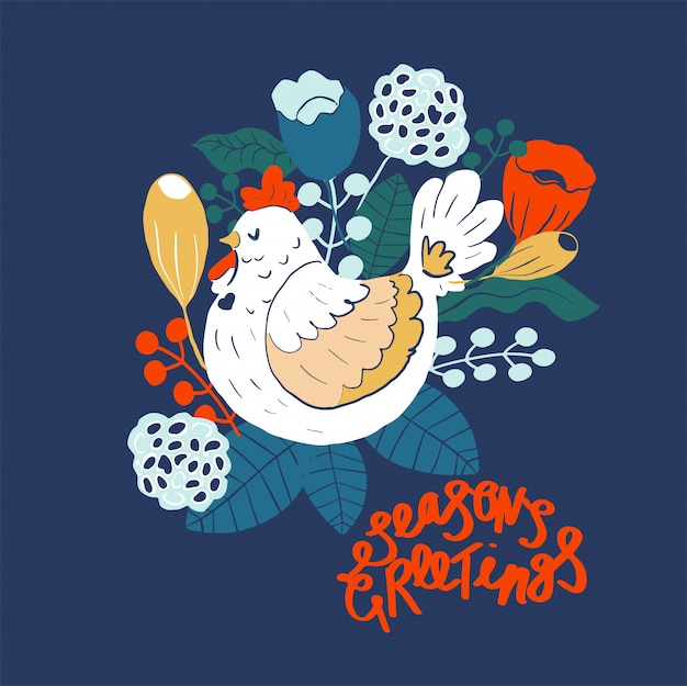 Season greetings. scandinavian folk art illustration with birds and flowers
