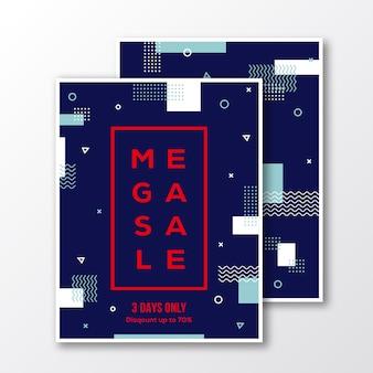 Сезон мега продажа плакатов, открыток или флаер шаблон. современный абстрактный плоский швейцарский стиль фона с декоративными полосами, зигзагами и минимальной типографикой. красный, синий цвета. мягкие реалистичные тени