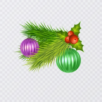 ベリーとクリスマスツリーのおもちゃで飾られた季節の現実的なクリスマスツリーの枝