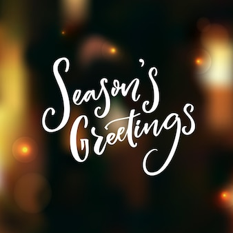 Season's greeting text on dark vector background with christmas lights. photo overlay.
