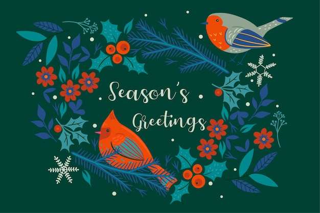 Season s greetings . christmas wreath and birds.