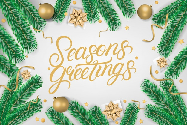 Season's greetings hand written lettering text.