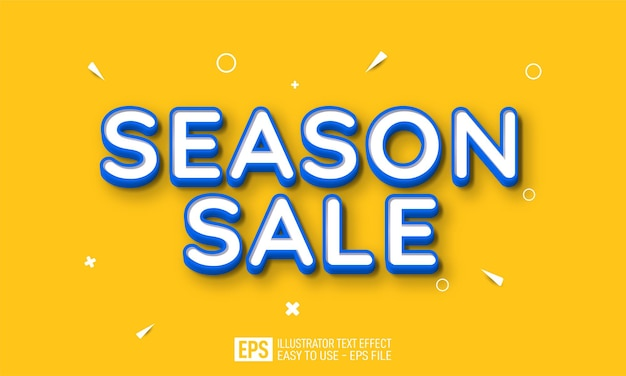 Season sale 3d text editable style effect template