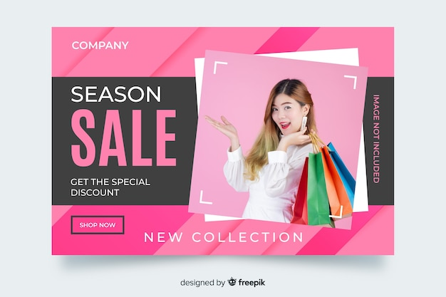 Season sale landing page with female holding bags