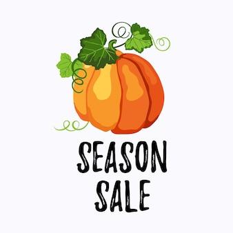 オレンジ色の熟したカボチャ、緑の葉と白の茎とシーズンセールステッカーベクトルデザイン