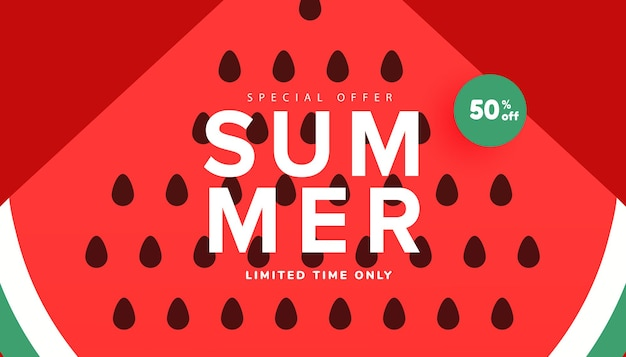Season summer sale banner, hot season discount poster with ripe watermelon