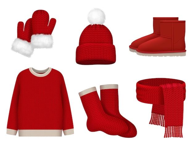 계절 겨울 옷. 모직 스카프 추운 날씨 모자 장갑과 양말 벡터 현실적인 옷 유행 컬렉션. 스카프와 스웨터, 크리스마스 장갑과 모자 그림