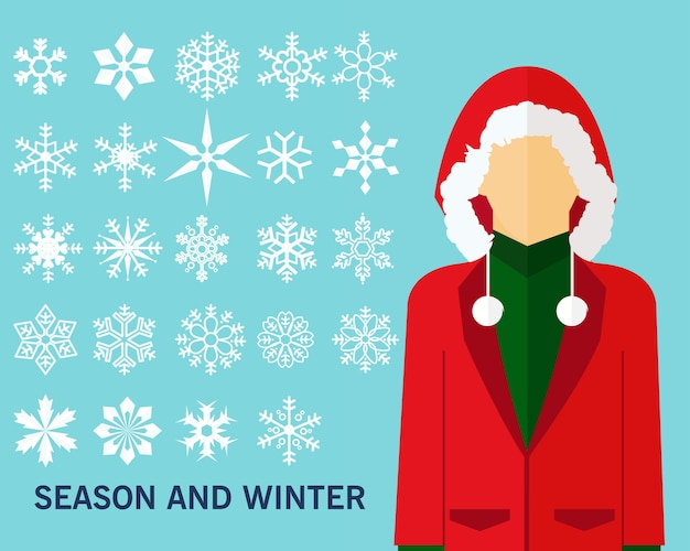 Season and winter concept background. flat icons.