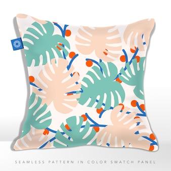 季節の抽象的な熱帯のヤシの葉のシームレスなファブリックパターン、パステルピンク&ブルー。