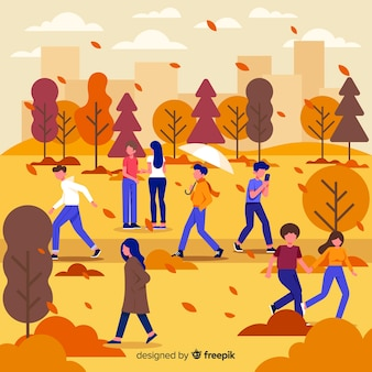 Seasonal activities autumn in park illustration