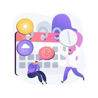 季節性情動障害治療抽象的な概念ベクトルイラスト。季節性うつ病の治療、情動障害、気分のむら、症状と治療、メンタルヘルスの抽象的な比喩。