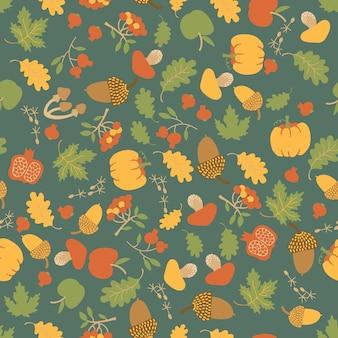 メープルオークの葉、カボチャ、リンゴ、ベリー、マッシュルーム、ドングリと季節の秋の花のシームレスなパターン