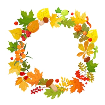 Seasonal autumn round banner with different berries leaves and mushrooms on white background
