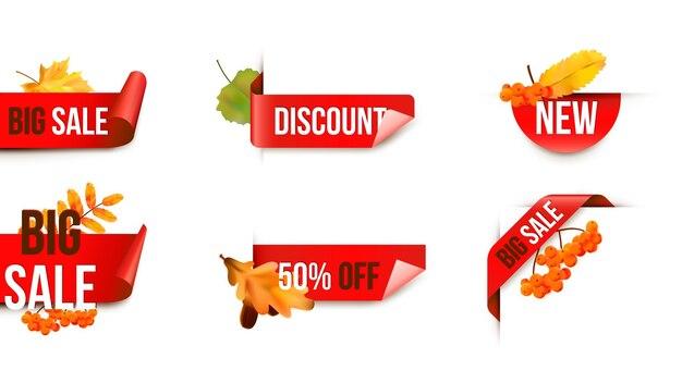 Сезонная осенняя распродажа. реалистичные красочные листья. тег продажи. наклейки продажи вектора.