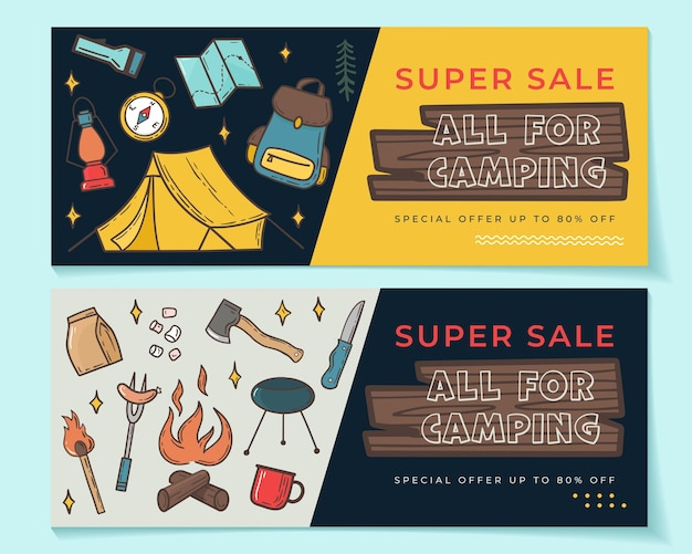 Seasonal banner set with camping elements. vector illustration in hand drawn style