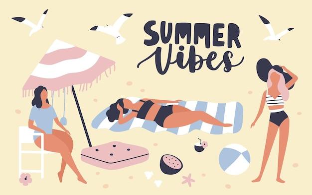 해변에서 일광욕 수영복을 입은 여성과 계절 카드 템플릿 및 필기체 summer vibes 문구