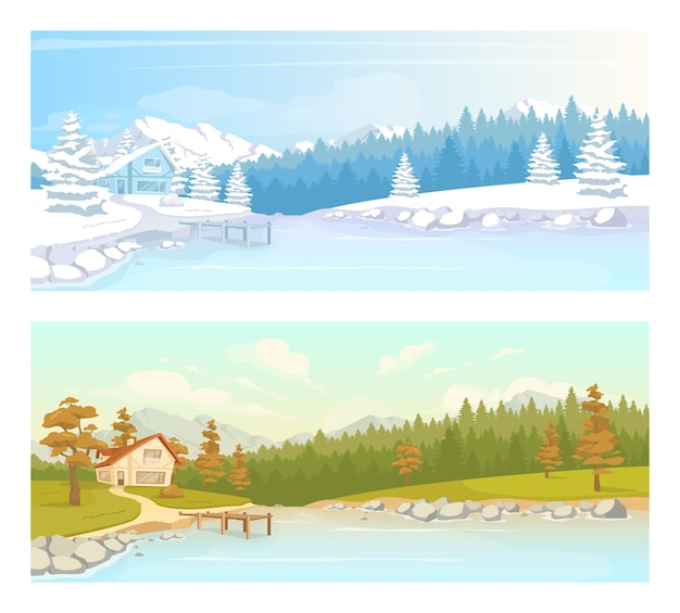 季節の田園風景フラットカラーセット。湖の近くの秋の風景。冬の森のコテージ。背景コレクションに自然と田舎の気候2d漫画の風景