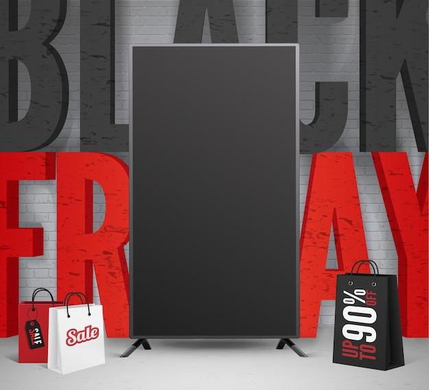 계절 전자 제품 판매 소셜 미디어 배너 템플릿입니다. 쇼핑백에 블랙 프라이데이 시즌 클리어런스 광고. 벽돌 벽 배경에 3d 비문입니다. 90% 할인 제공 포스터 디자인 레이아웃