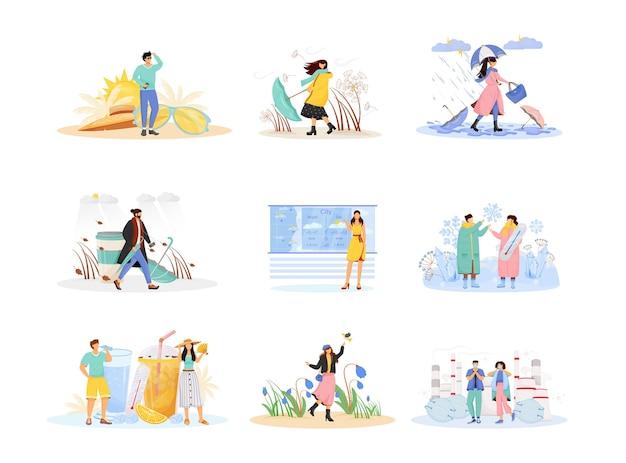 季節のフラットコンセプトセット。傘とレインコートの女性。