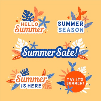 Seasonal flat design summer badge set