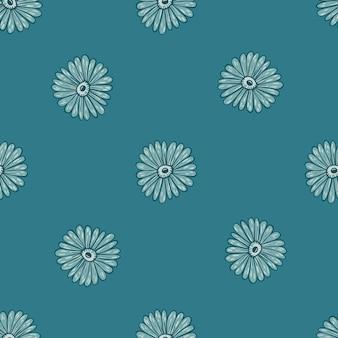 ひまわりの形をした季節の花柄のシームレスパターンがプリントされています。ターコイズ色の植物学プリント。季節のテキスタイルプリント、ファブリック、バナー、背景、壁紙のベクトルイラスト。