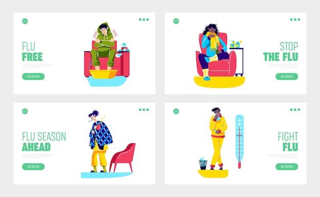Сезонный грипп и простуда с больными героями мультфильмов