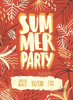 여름 파티 또는 야외 축제를 위해 이국적인 야자수, 얼룩 및 낙서로 장식 된 계절별 전단지, 포스터 또는 초대장 템플릿