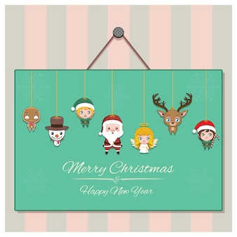 Seasonal greeting with a garland of christmas characters