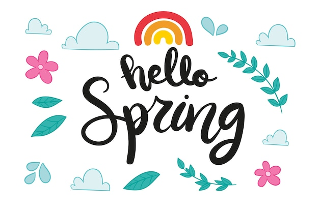 Seasonal hello spring lettering