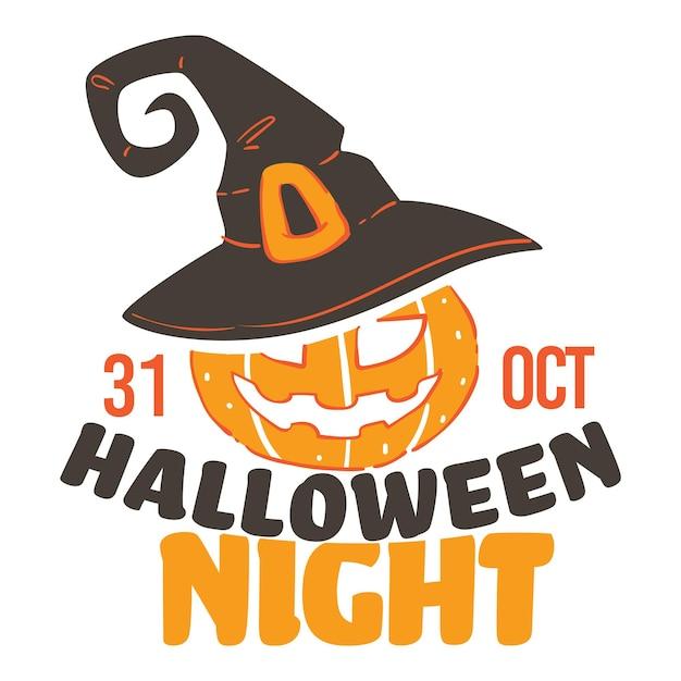 私たちの季節の休日、秋でもハロウィンナイトパーティーのお祝い。 10月31日、ベルト付きの魔女の帽子をかぶった顔が彫られたカボチャ。不気味なジャック・オー・ランタンの不思議なキャラクターベクトル
