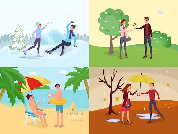 Seasonal outdoor activities flat s set