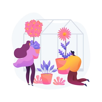 Illustrazione di vettore di concetto astratto di piantatrici stagionali. idee per la decorazione del giardino, fioriera per le vacanze, paesaggista, porta d'ingresso, abbonamento e consegna, metafora astratta di piantare fiori.