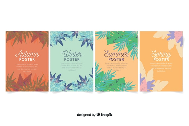Seasonal poster collection in watercolor style