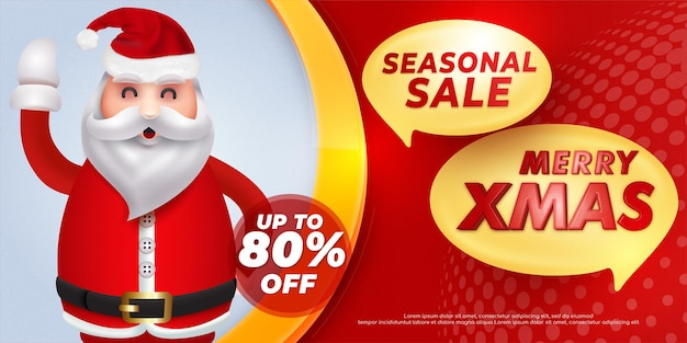 Seasonal sale christmas banner special offer template design with illustration of happy santa claus