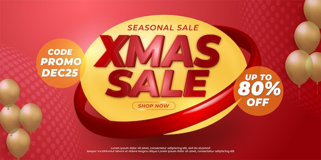 Seasonal sale xmas banner template with abstract design element decoration