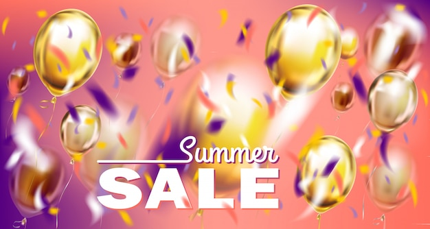 Seasonal sales and deals banner with metallic balloons on violet and pink background