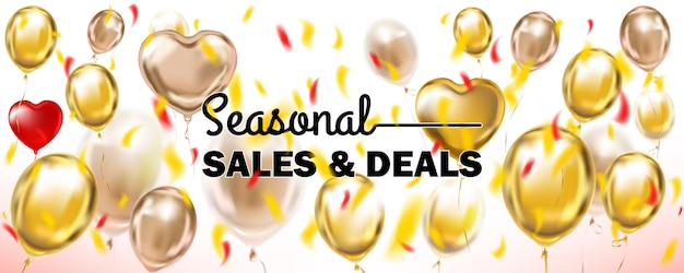 Seasonal sales and deals white and gold banner with metallic balloons