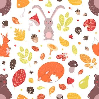 愛らしい野生の森の動物、紅葉、どんぐり、白い背景のキノコの季節のシームレスなパターン。テキスタイルプリント、壁紙、包装紙の幼稚なフラットイラスト。