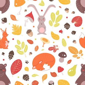Seasonal seamless pattern with adorable wild forest animals, autumn leaves, acorns and mushrooms on white background. childish flat illustration for textile print, wallpaper, wrapping paper.