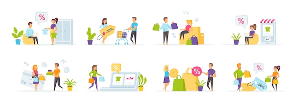 Seasonal shopping set with people characters in various scenes and situations.