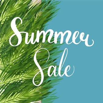 Seasonal summer sale discount template with exotic jungle plant.