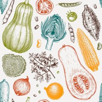 Seasonal vegetables seamless pattern. harvest festival vector background. hand sketched herbs, vegetables, mushrooms illustration. health food ingredients backdrop vector illustration.