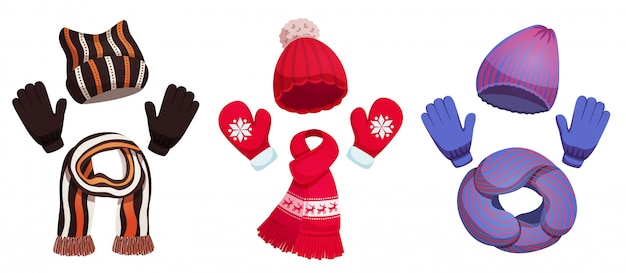Seasonal winter scarf hats collection with three sets of colourful cold weather clothing  illustration