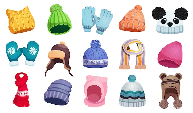 Seasonal winter scarf hats kids set with fifteen isolated images of children wear  illustration