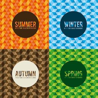 カラフルな背景のベクトル図の上の季節デザイン Premiumベクター